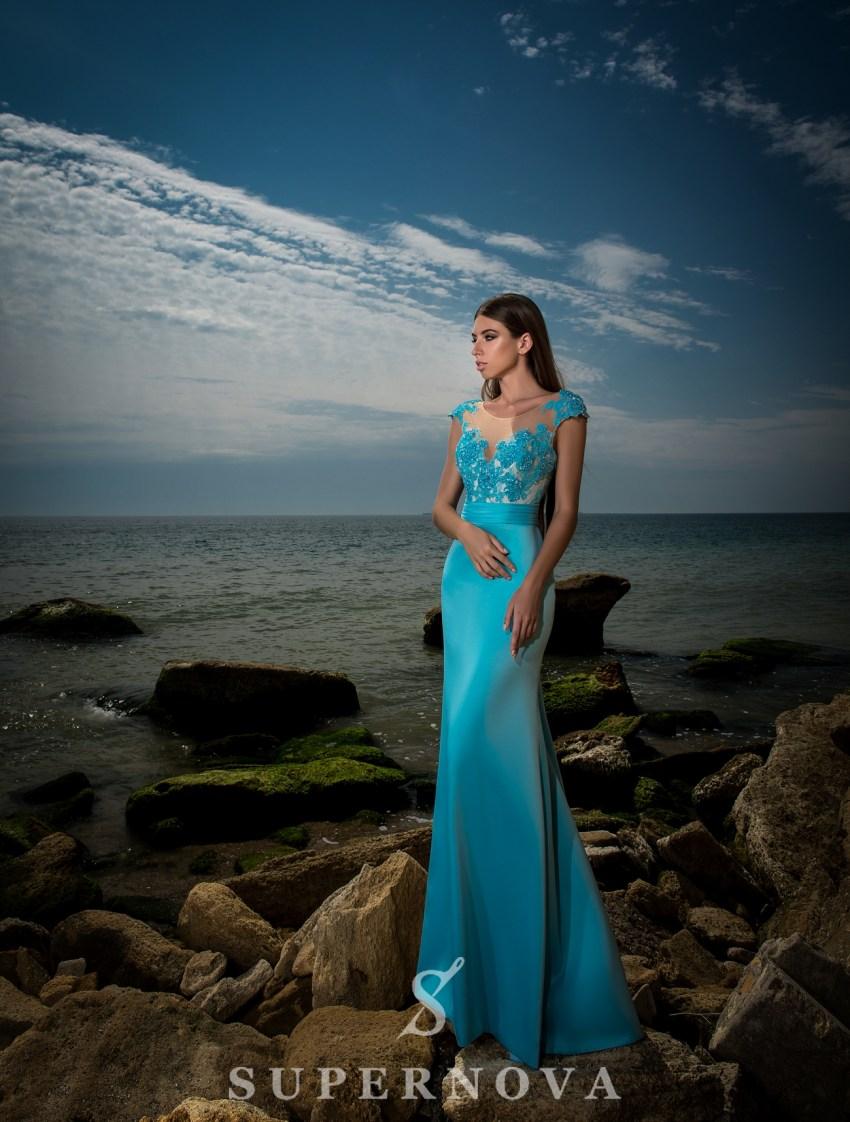Evening dress with skirt-train-2