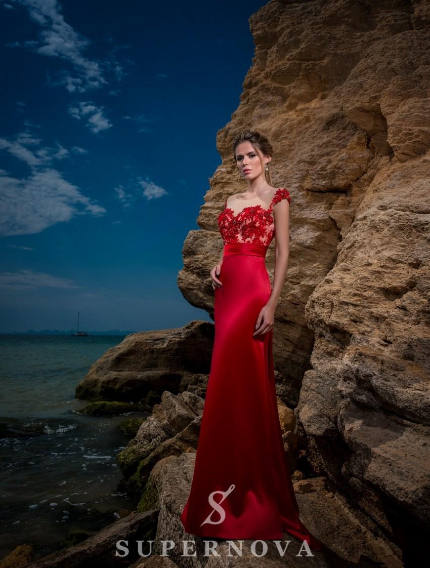 Evening dress with skirt-train-3