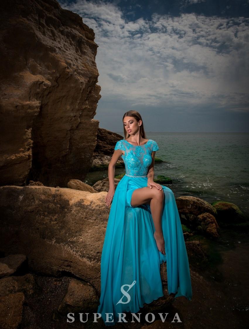 Вечернее платье c коротким рукавом-2