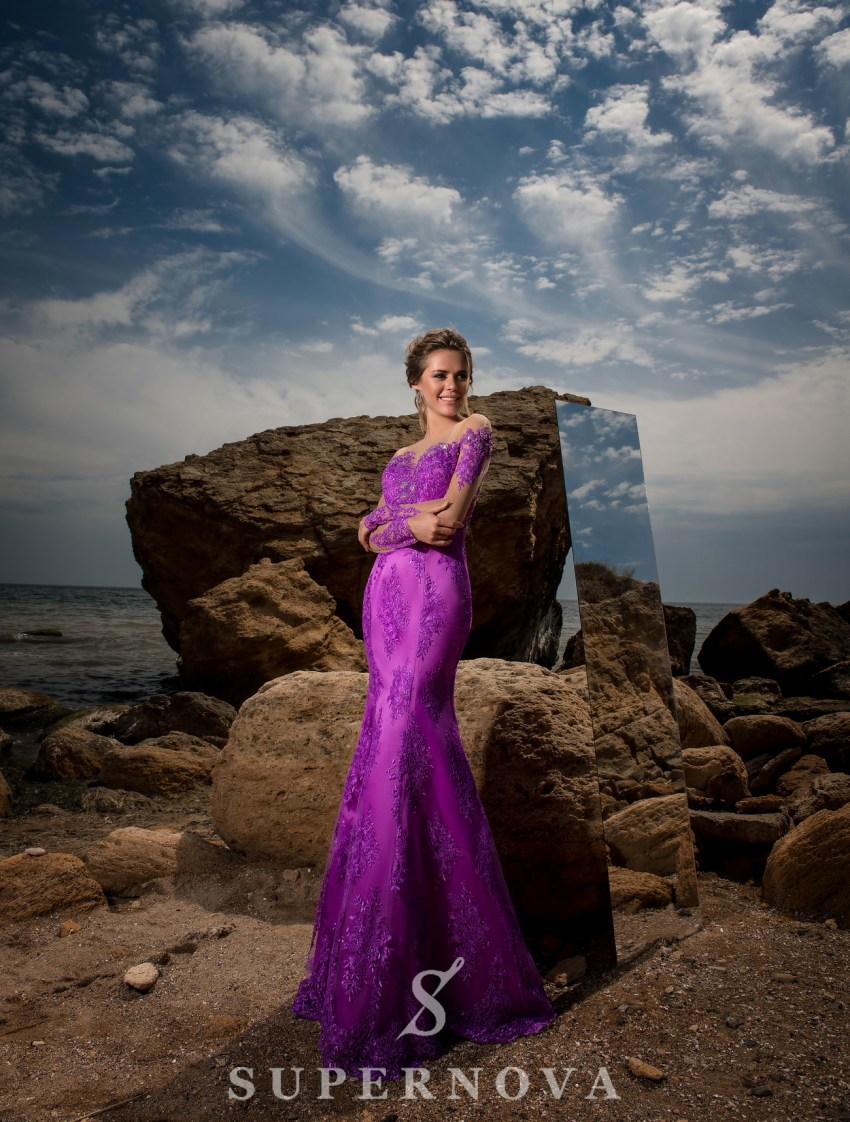 Evening dress with long sleeves-2