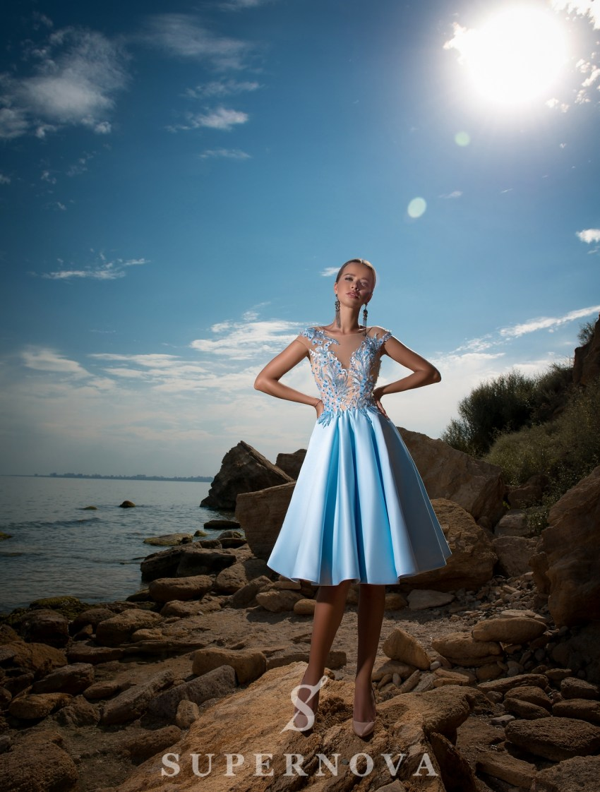 Evening dress with flared skirt-3