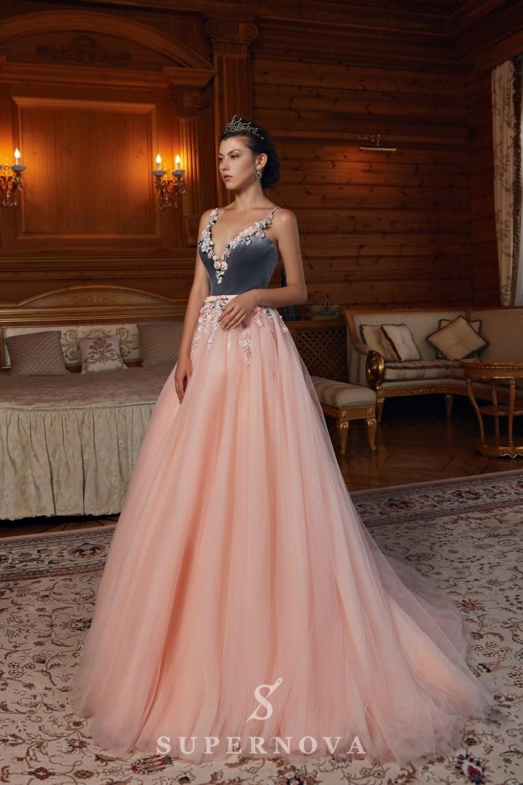 Вечернее платье с велюровым корсетом и фатиновой юбкой от SuperNova-3