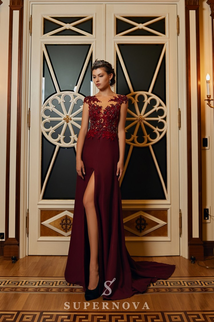 Evening dress with a slit and a lace corset on wholesale from Super Nova.-4