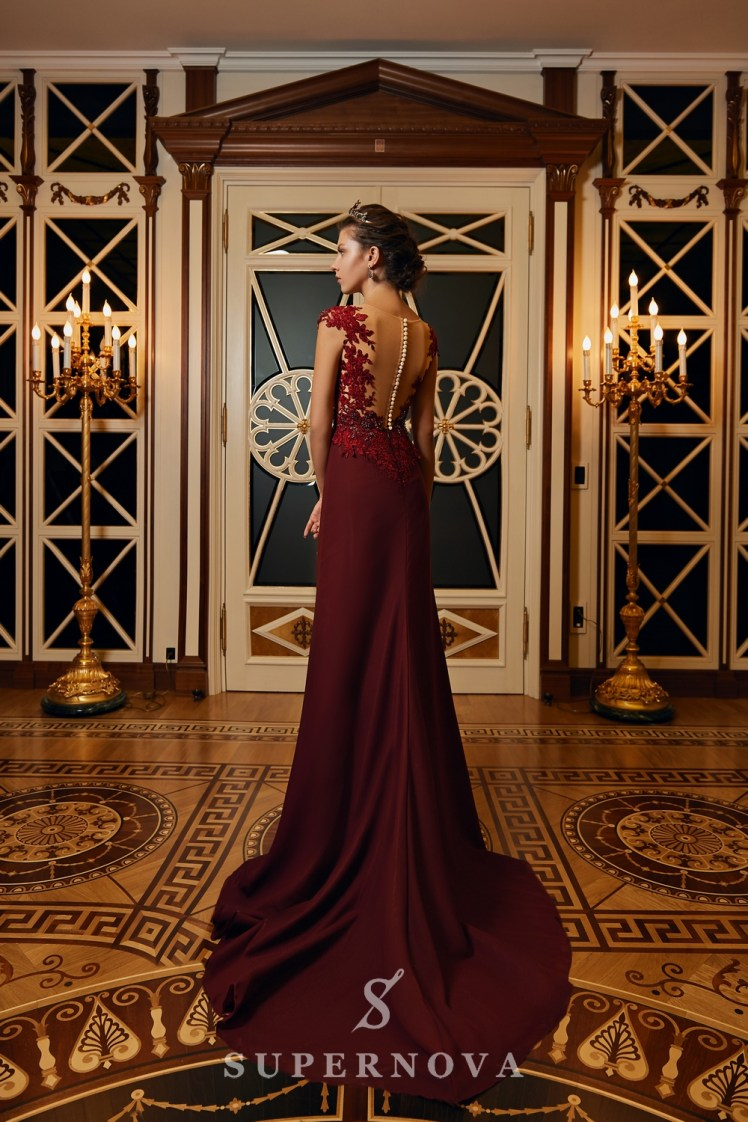 Evening dress with a slit and a lace corset on wholesale from Super Nova.-5