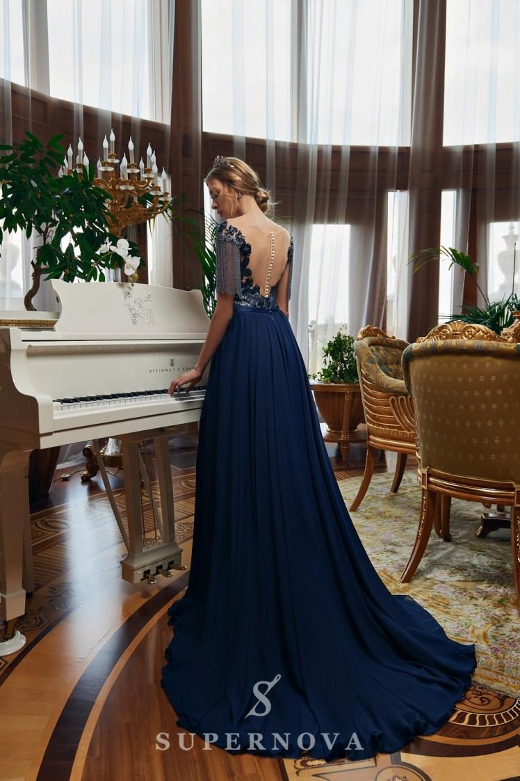 Вечернее платье с бисерными нитями оптом от SuperNova.-4