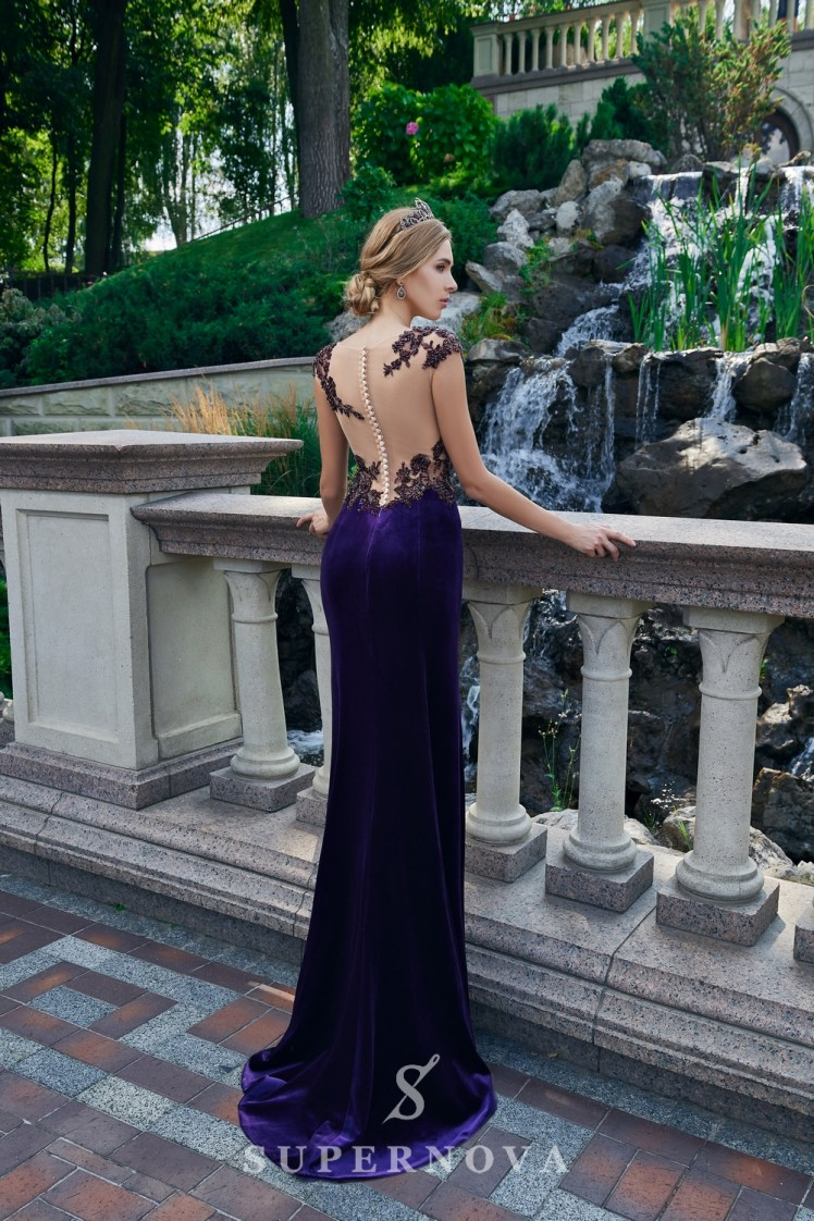 A close-fitting velour evening dress on wholesale from Super Nova.-4