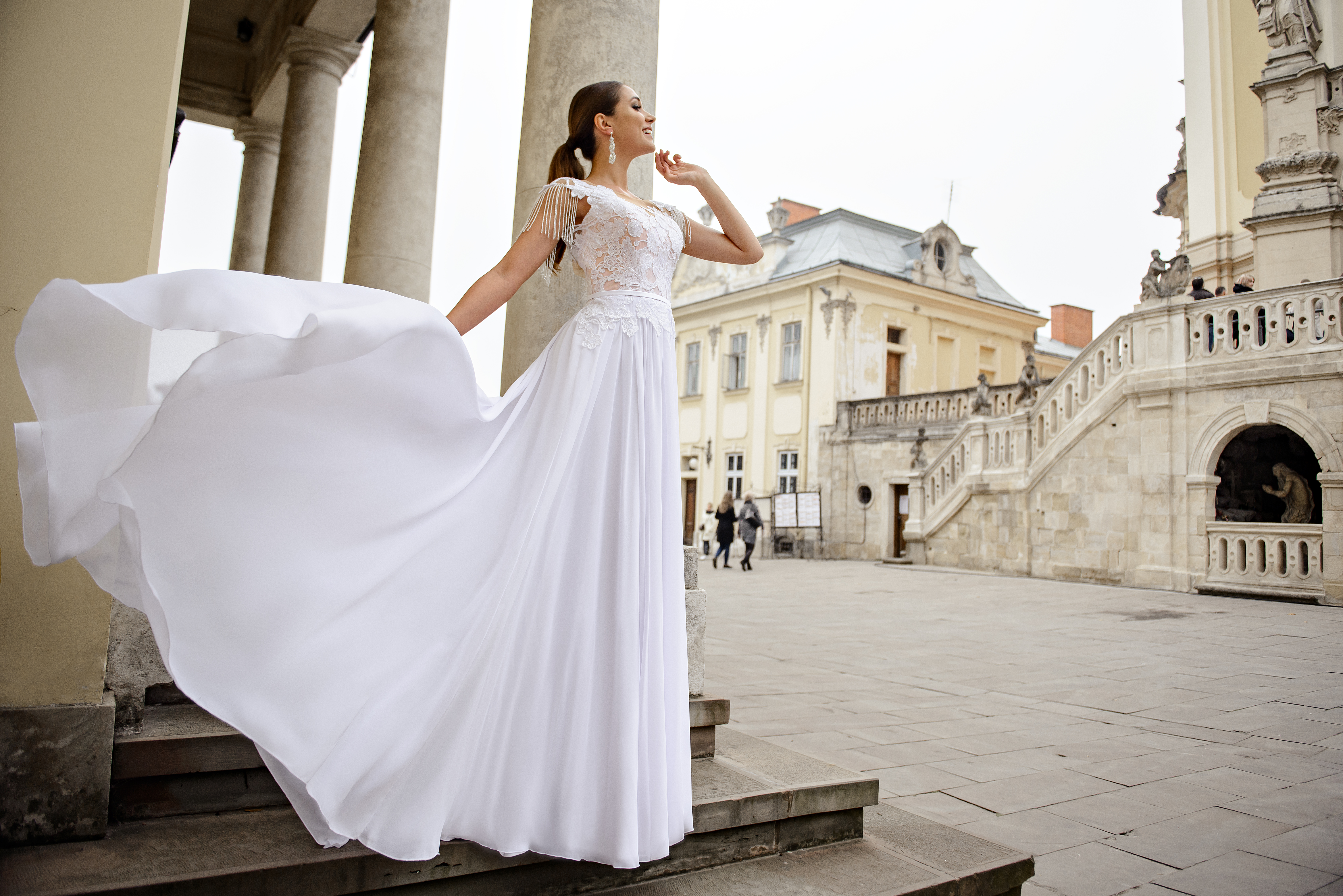 Свадебное платье с шифоновой юбкой на кокетке оптом от SuperNova-1