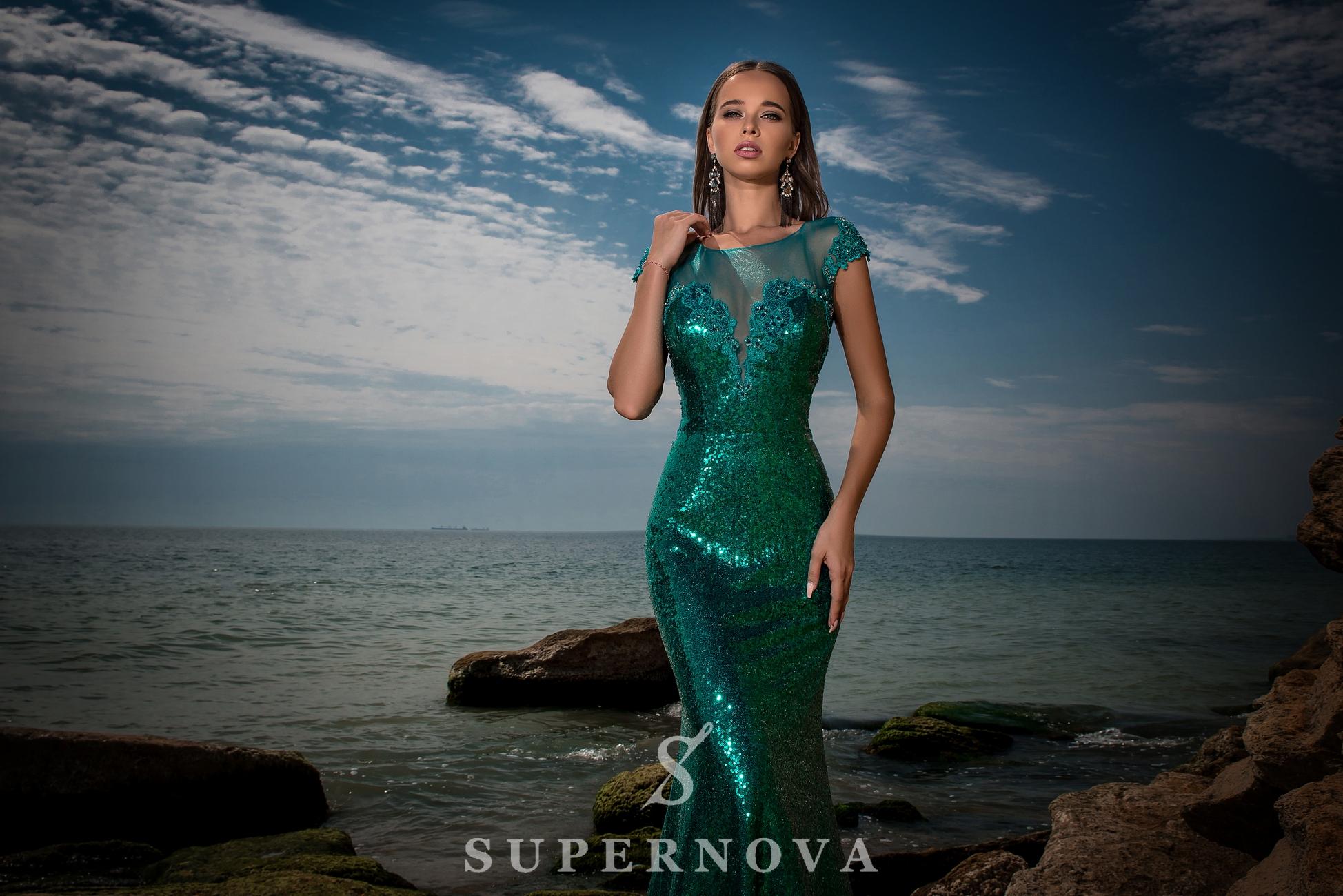 Evening dress of sequin material-1