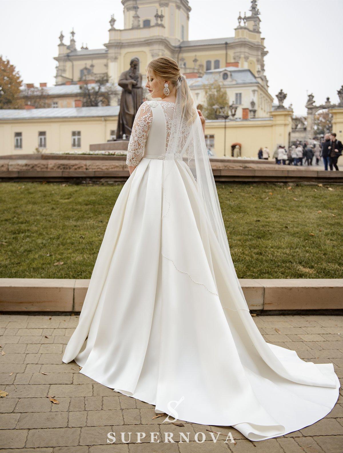 Весільна фата з фігурним краєм від бренду Super Nova оптом-1