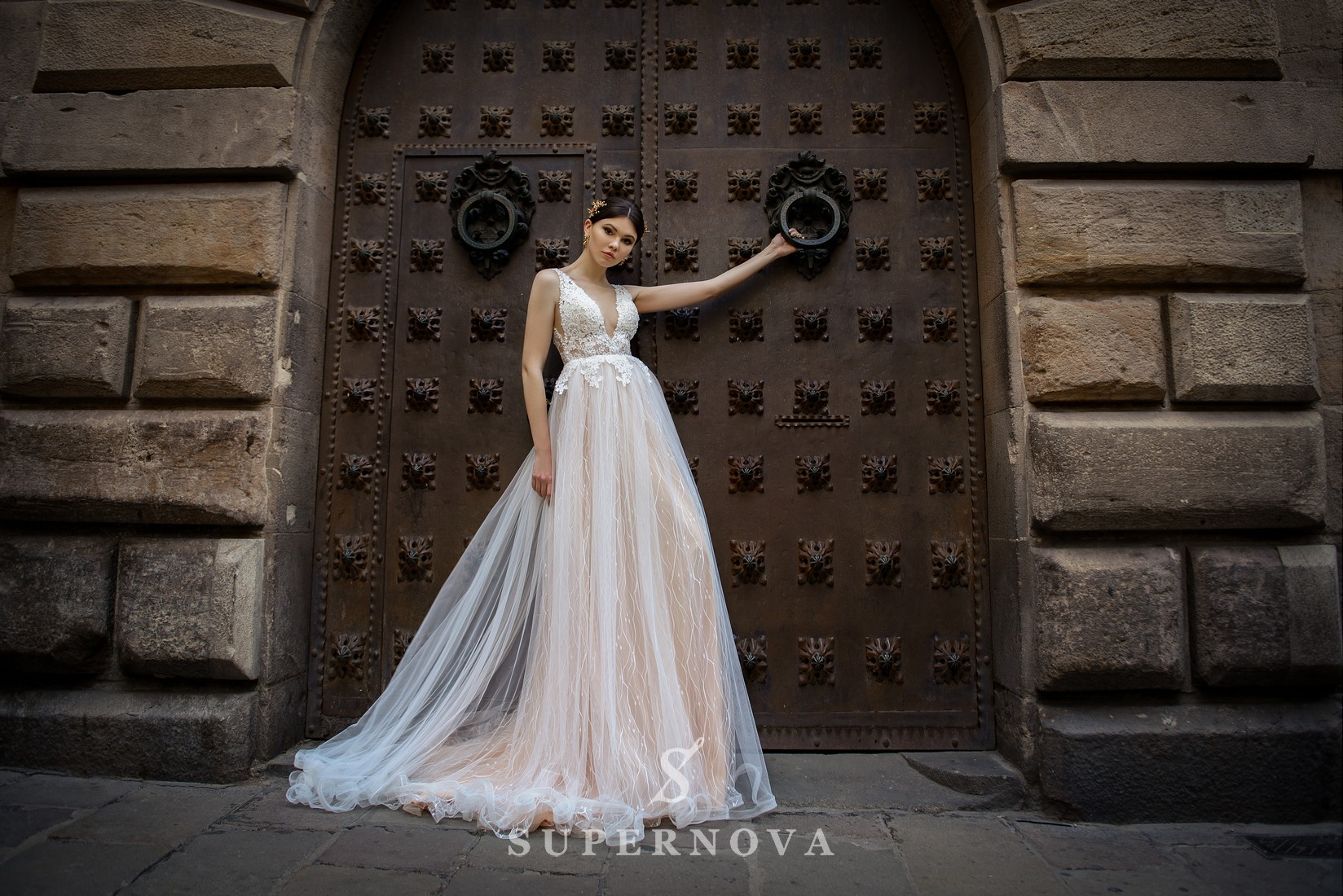 Wedding dress with a deep cut from SuperNova wholesale-1