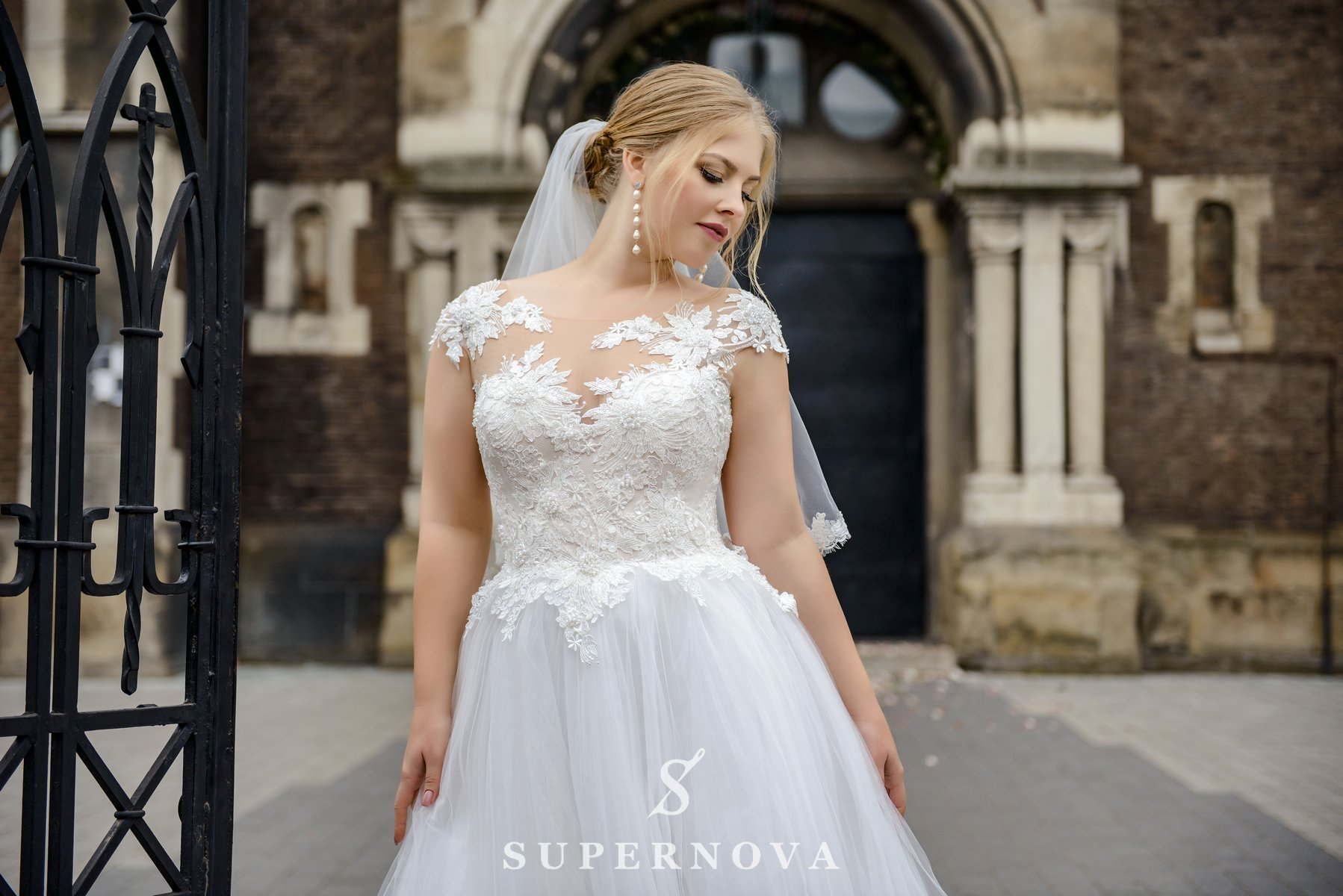 Plus size wedding dress with a puffy skirt on wholesale from SuperNova-1