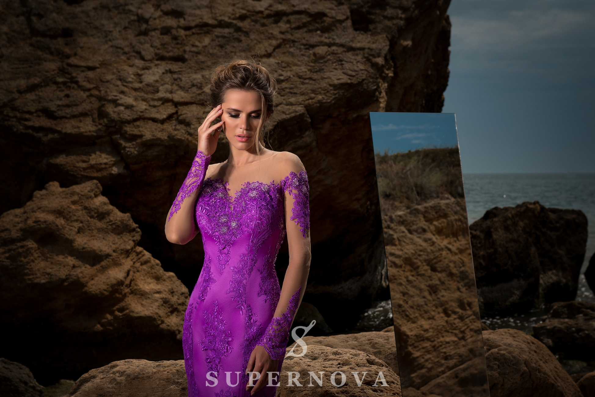 Evening dress with long sleeves-1
