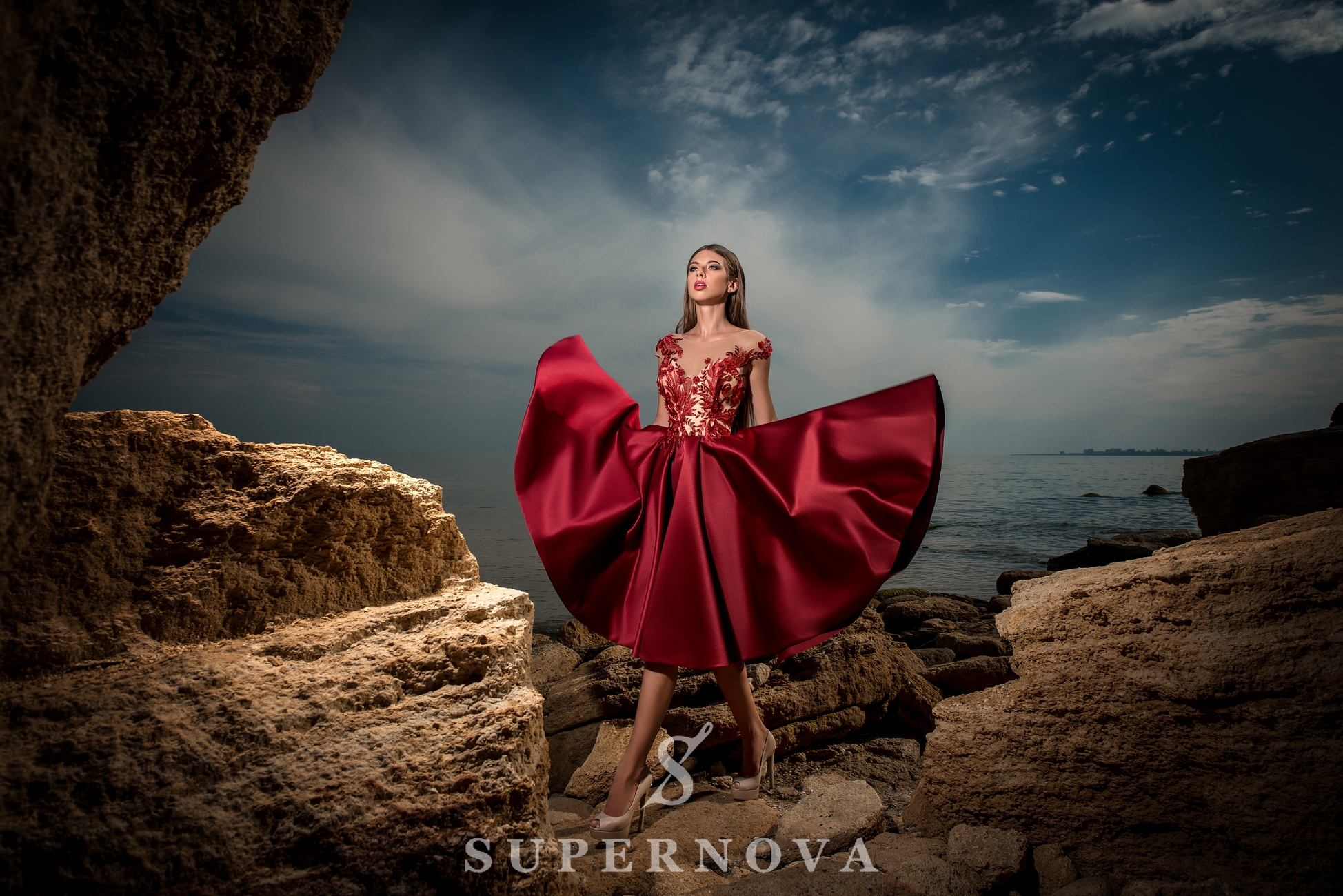 Evening dress with flared skirt-1