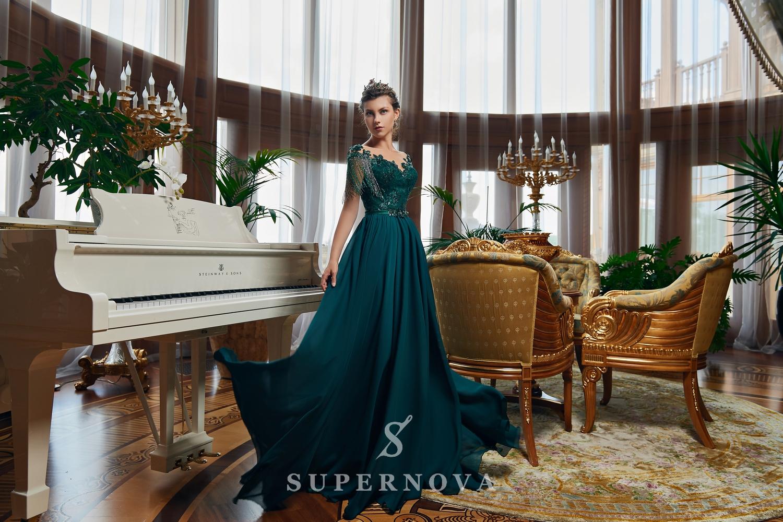 Rochie de seară cu fustă trenă moale și corsetul brodată cu mărgel angro de la Super Nova-1