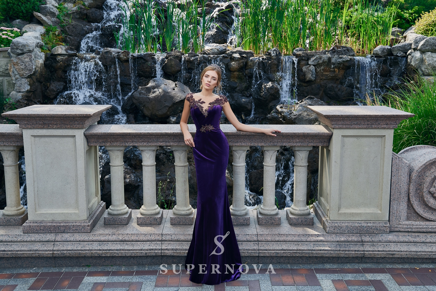 A close-fitting velour evening dress on wholesale from Super Nova.-1