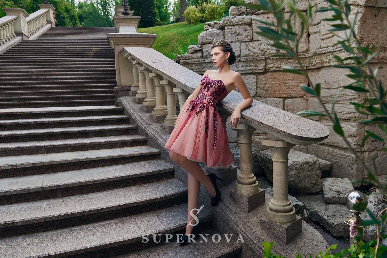 Rochie de seară scurtă cu fustă bufantă angro de la Super Nova-1